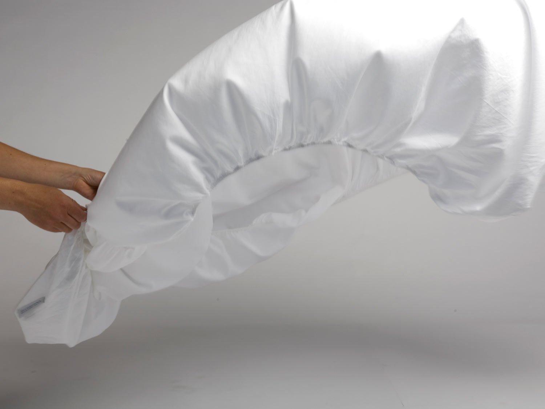 Yumeko Bettwäsche - Spannbettlaken - Baumwollsatin - 160x200x30 cm - Pure Weiß - Weiß - 100% biologische Baumwolle - ökologisch - weich & glatt - Fair Trade
