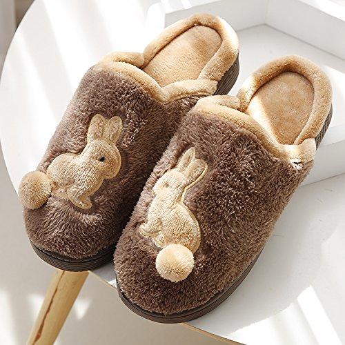 Fankou autunno e inverno soggiorno indoor home il cotone pantofole donna coppia anti-slip case con dense e calde scarpe uomo ,39-40, caffè