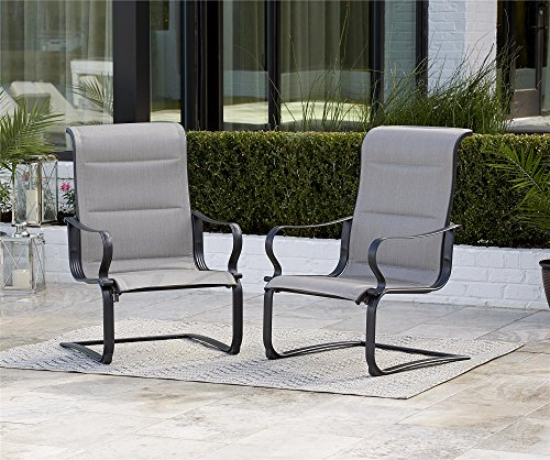 Cosco Outdoor Patio Chairs, SmartConnect, 2 Pack, Gray Beige