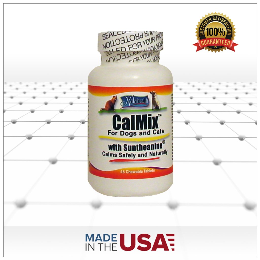 Kala Health - Calmix for Dogs and Cats, 45 Chewable Tablets. Contains L-Theanine (Suntheanine), Valerian Powder, Taurine and other Calming Ingredients- This Natural Supplement Helps Calm Nervous Pets.