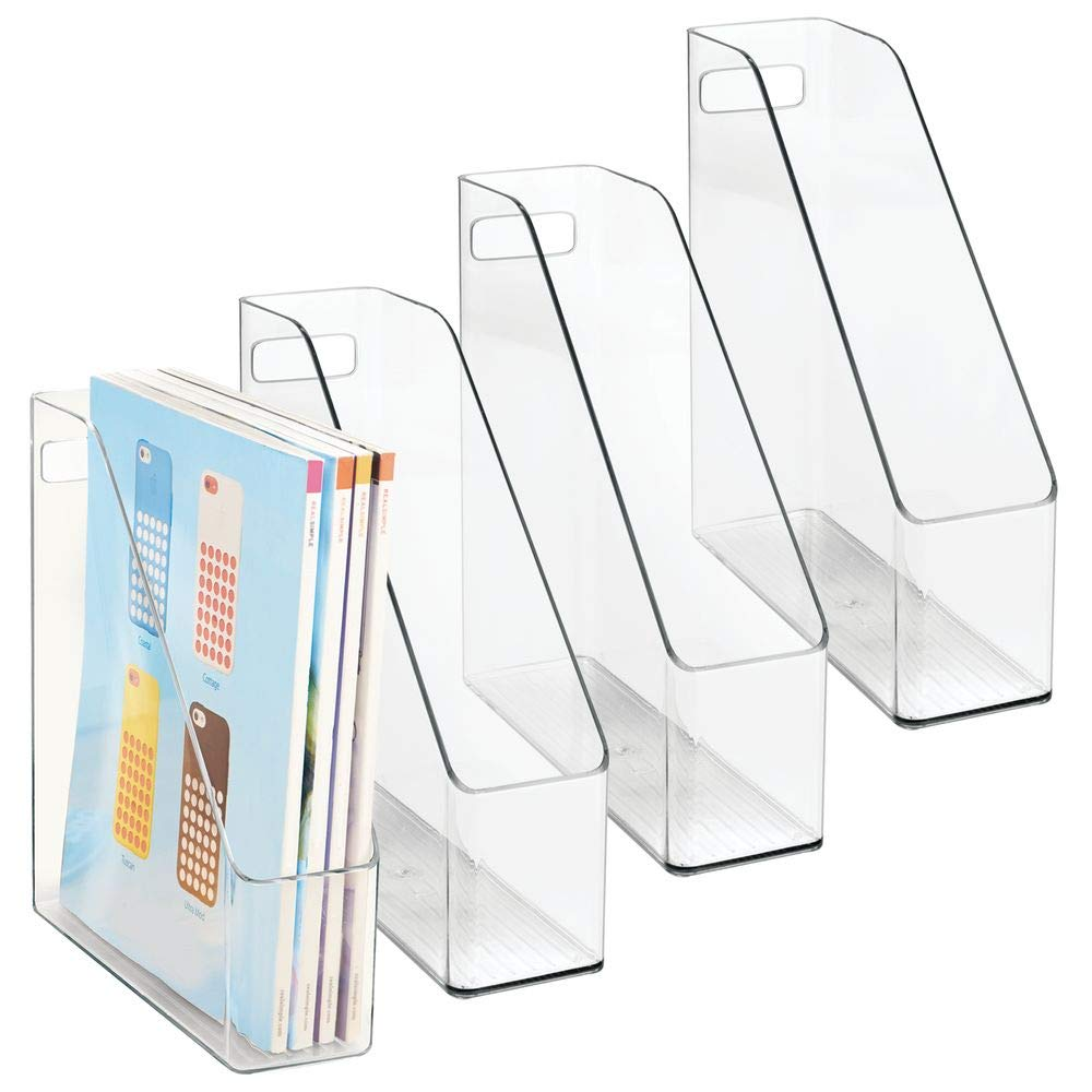 mDesign Plastic File Folder Bin Storage Organizer - Vertical with Handle - Holds Notebooks, Binders, Envelopes, Magazines - Container for Home Office and Work Desktops - 4 Pack - Clear by mDesign