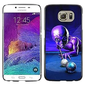 Design for Girls Plastic Cover Case FOR Samsung Galaxy S6 Ufo Pool Billiard Alien Grey Universe Control OBBA