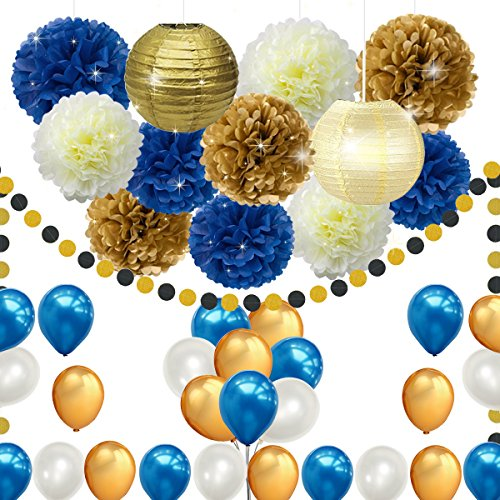 45pcs DIY Navy Blue Gold Party Decorations Supplies Blue Birthday Baby Shower Pary Decor Blue Gold Cream Paper Pom Poms Lanterns Balloons Dot Paper Garland Wedding, Bridal Shower Festival Party Decor by FATPET