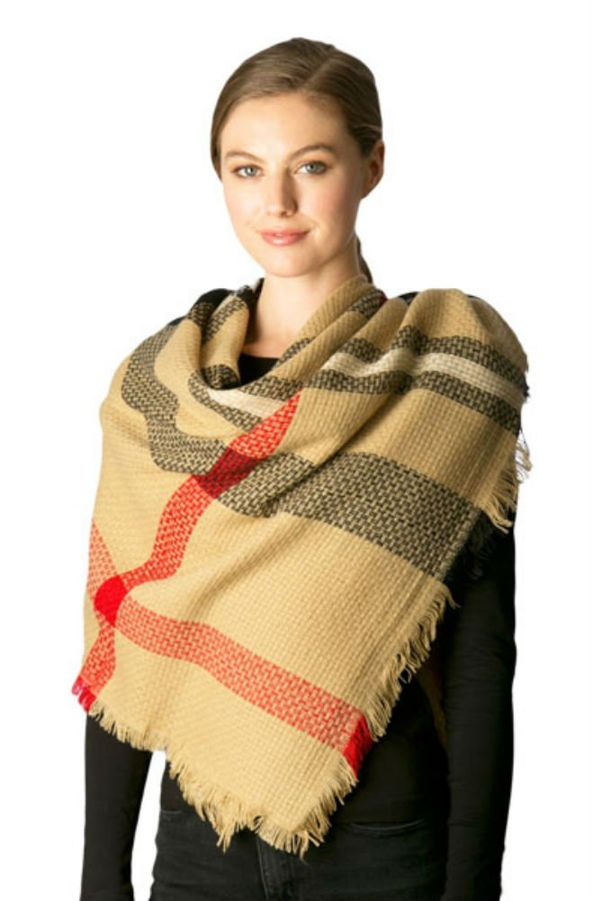 Plum Feathers Premium Plaid Pattern Knit Large Blanket Scarf with Fringes (Camel Weave Plaid)