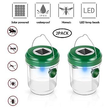 Trampa de Avispas, Repelente de Abejas Solar Mosca de Fruta Receptor Asesino con Luz LED, Atrayente para Mosquitos, Insectos y Avispones, Ideal para ...