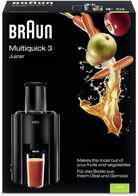 Braun J300 Multiquick Juicer - Licuadora Exprimidor, 800 w, 2 velocidades, jarra de zumo 1,25 l, negro: Amazon.es: Hogar