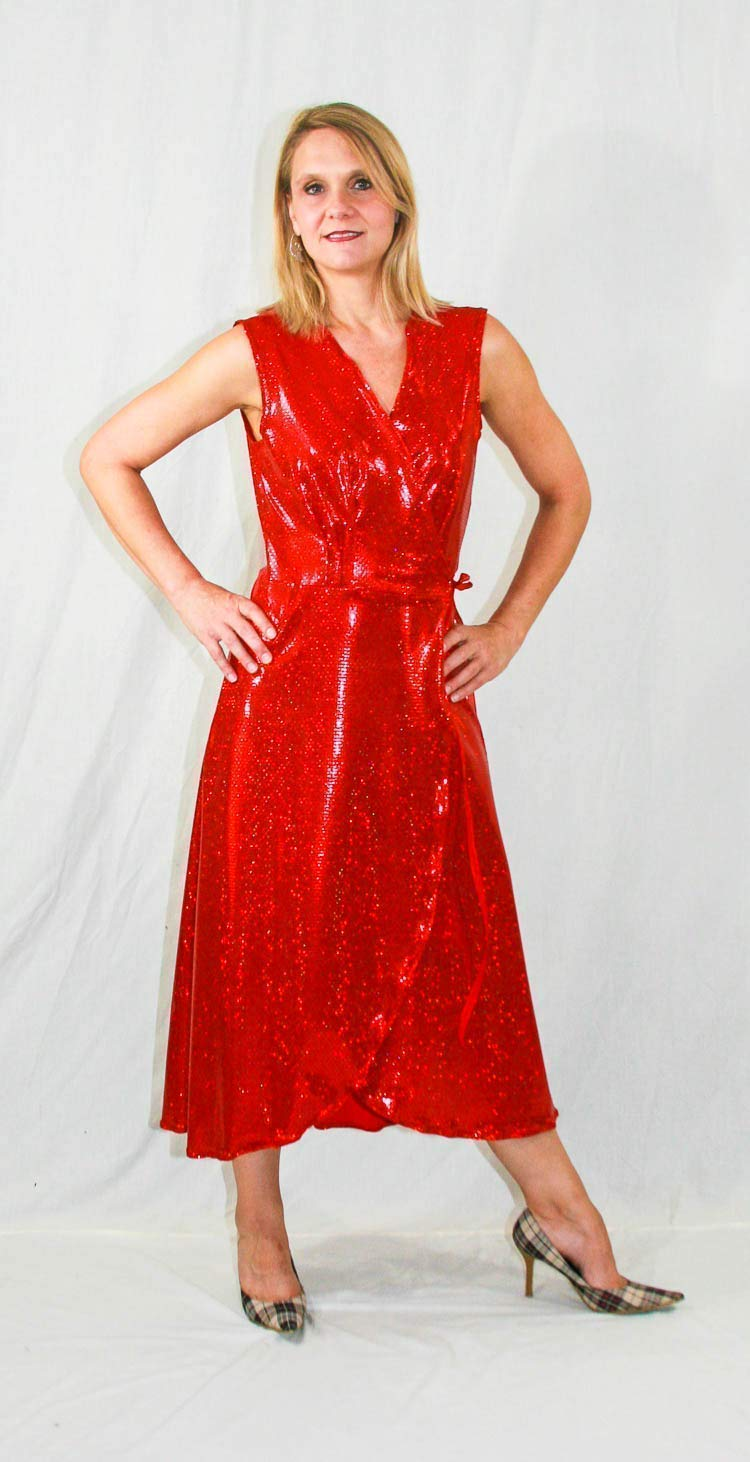 Amazon.com: Plus Size Red Sequin Holiday Dress, Wraparound ...