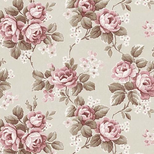 BorasTapeter 1611 Vintage Fleece Wallpaper with Rose Vine Design Pink / White / Pastel Green: Amazon.co.uk: DIY & Tools