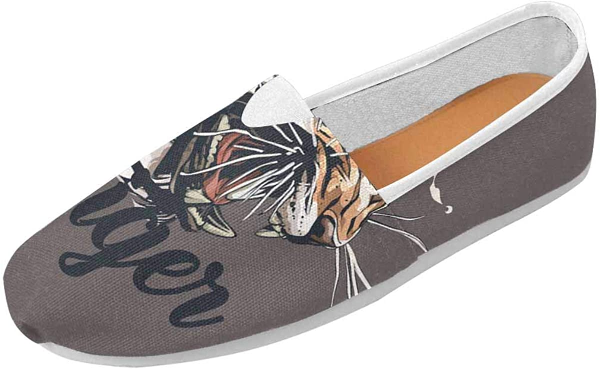 INTERESTPRINT Tiger Graphic Women's Loafers Casual Slip On Flats