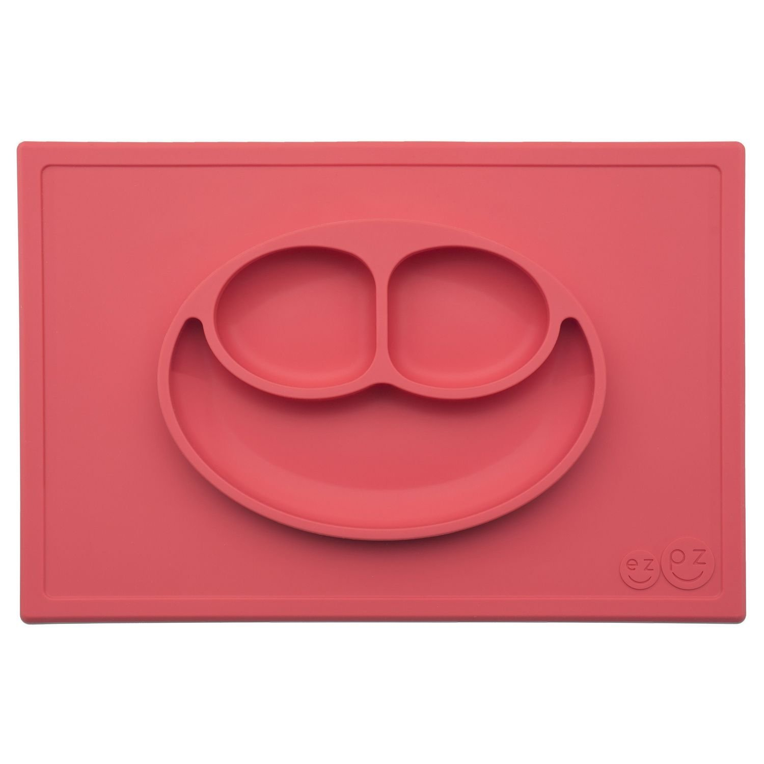 ezpz Happy Mat - One-piece silicone placemat + plate (Coral) PKHMC004