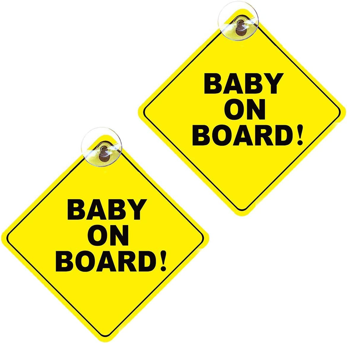 2Pieces Removable Kids Safety Warning Sticker Sign with Suction Cups for Car Warning Baby on Board Sign
