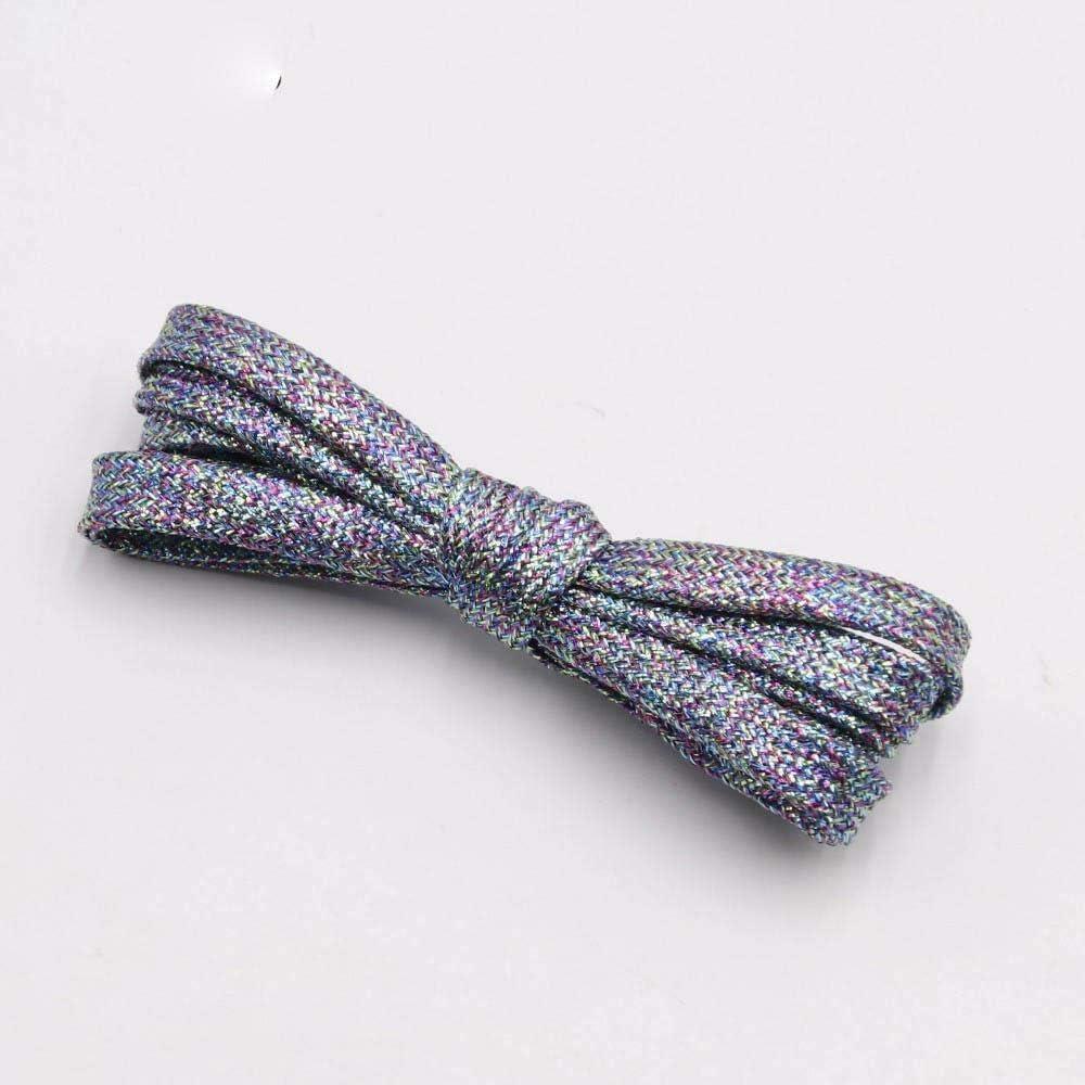 colores chic y brillantes de 7 mm de botas met/álicos 60 cm 2351 Negro Cordones planos con purpurina brillante para zapatos con cordones brillantes de Navidad