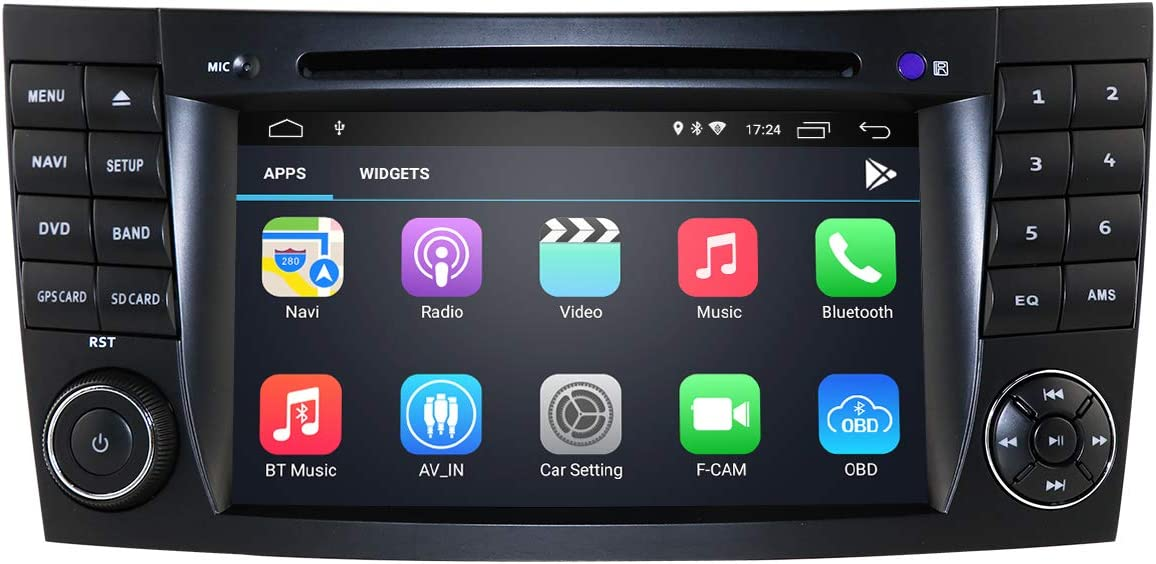 2005-2006 Lecteur Audio de Voiture Android 9.0 avec /écran Tactile de 7 Pouces pour Mercedes-Benz E-W211 //G-W463 Supporte la Radio Bluetooth 2002-2009 2001-2008 //CLK-W209 //CLS-W219 2001-2011