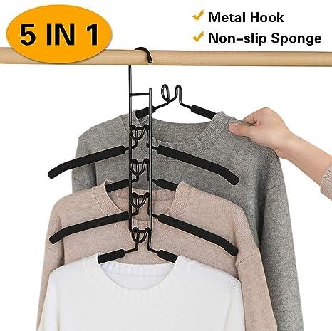 Amazon.com: PUPOUSE Perchas de ropa de varias capas, 5 en 1 ...