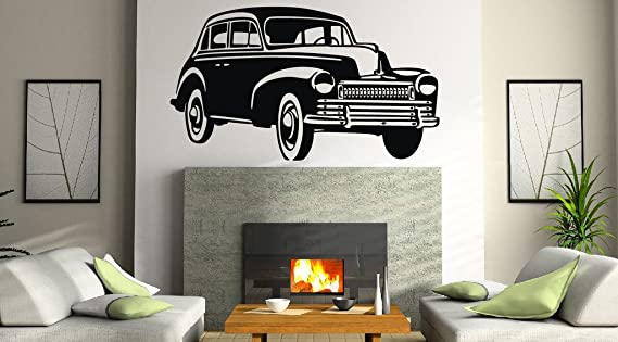 DECOR Kafe Decal Style Vintage Car Wall Sticker Wall Poster (PVC Vinyl, 127 X 71 cm) Wall Stickers at amazon