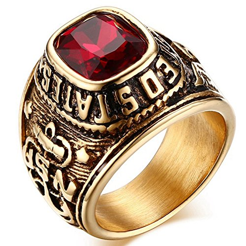 Stainless Steel Rings Gold Black Eagle Anchor Carved Created Ruby USN Military Sailor Rings Red 10 (Vintage Black Sailor Girl Nose)