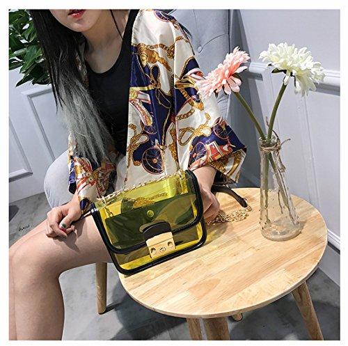 Awesama Bag Clutch Handbags Colors Strap Bag 4 Chain Shoulder Green Shoulder Transparent Transparent rXxIaqrZ