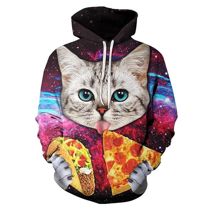 Pizza Cat Hoodies Hombres Mujeres Sudaderas Pullover Unisex 3D Pritned 6XL Abrigos Más Chándales Casuales Autumn Male Jackets: Amazon.es: Ropa y accesorios