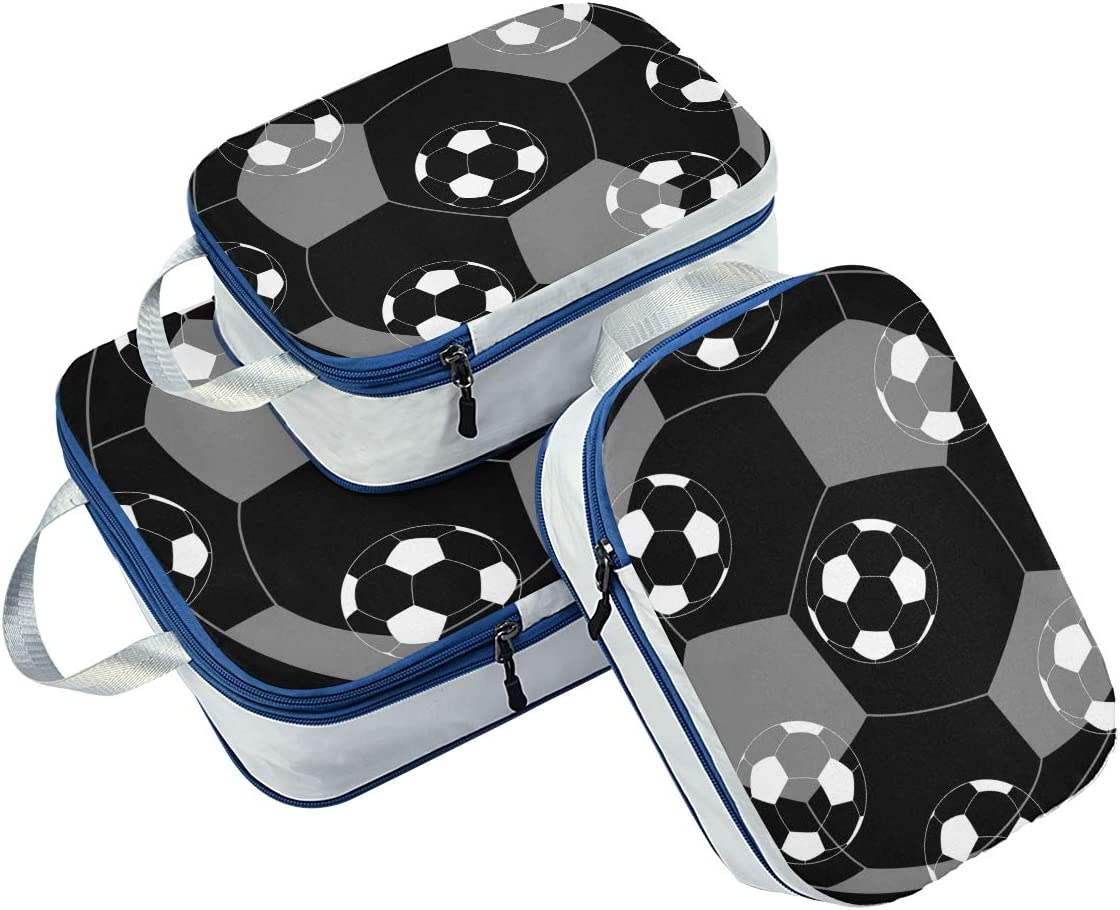 t Seamless Football Pattern 3 Set Packing Cubes,2 Various Sizes Travel Luggage Packing Organizers