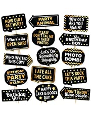 Happy Birthday Photo Booth Props By PartyGraphix - European Made Black And Gold Selfie Props Birthday Decorations - Easy To Assemble Birthday Party Selfie Prop Kit Includes 15 Pieces