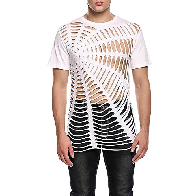 Ropa Manga Y Amazon Con Accesorios Transparente es Bonboho Bonboho Camiseta Corta Hombre Para Agujeros FIHnPqn7w