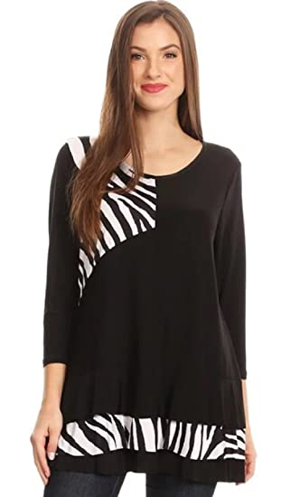 Womens Zebra Print 3 4 Sleeve Long Body Top Relaxed Fit Tunic Fashion Top ( 5ae11d46e