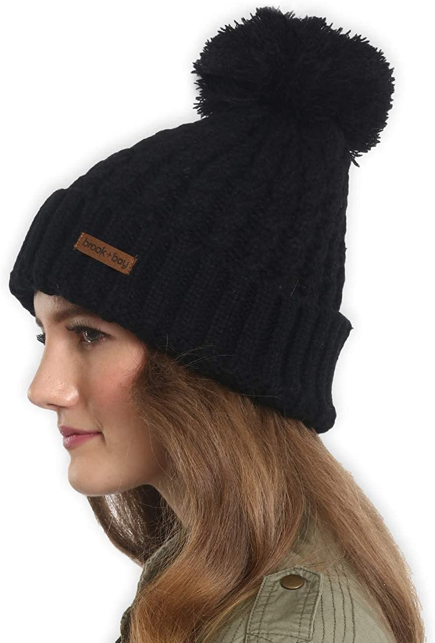 Dare 2b Girls Convince Beanie Chunky Cable Knit Fleece Lined Bobble Hat
