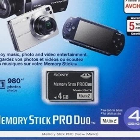 Sony 4GB Memory Stick Pro Duo + Adapter 4GB MS Memoria Flash - Tarjeta de Memoria (4 GB, MS, 15 MB/s, 2.7-3.6, 2 g, 31 x 1 x 20 mm)
