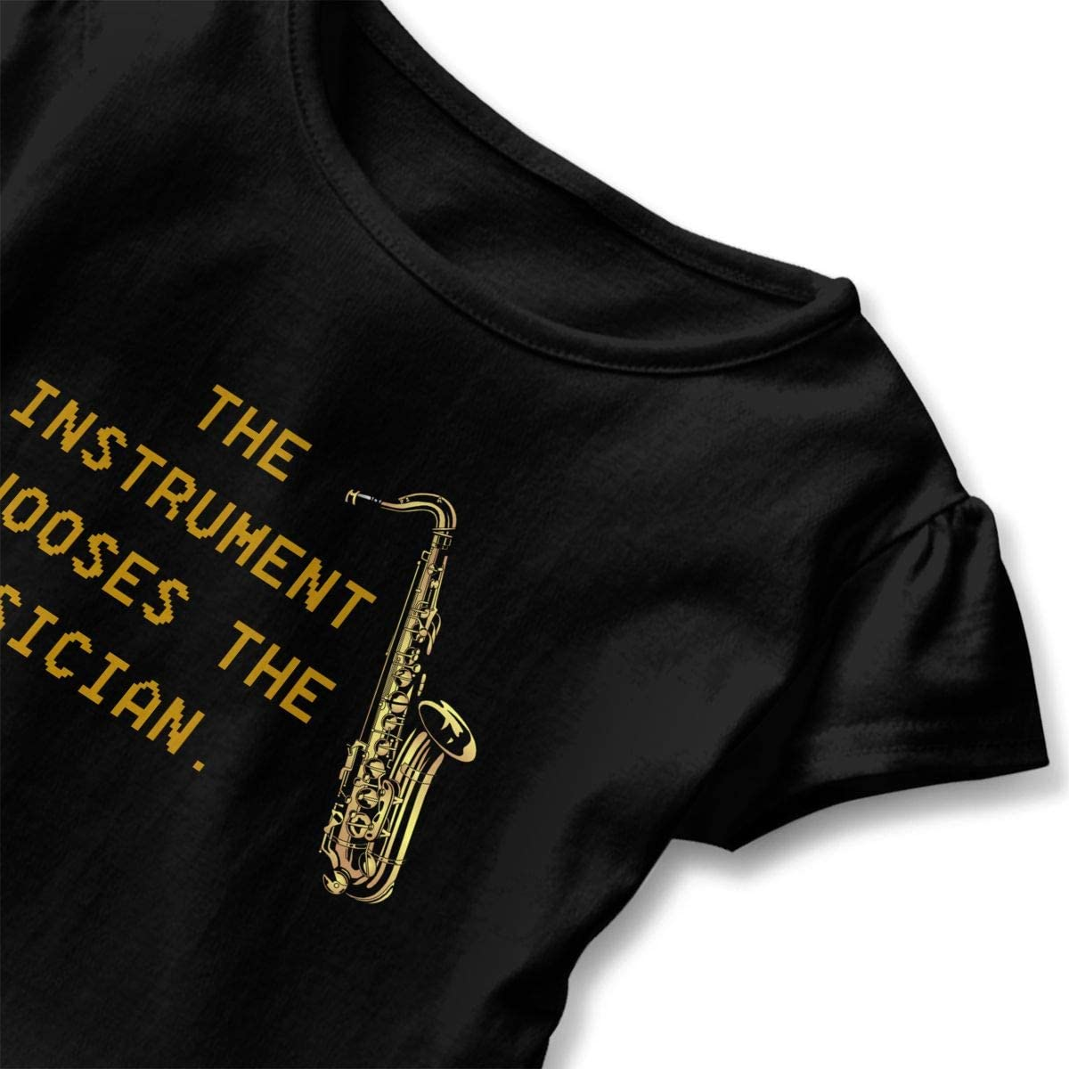Cheng Jian Bo Saxophone The Instrument Chooses Toddler Girls T Shirt Kids Cotton Short Sleeve Ruffle Tee