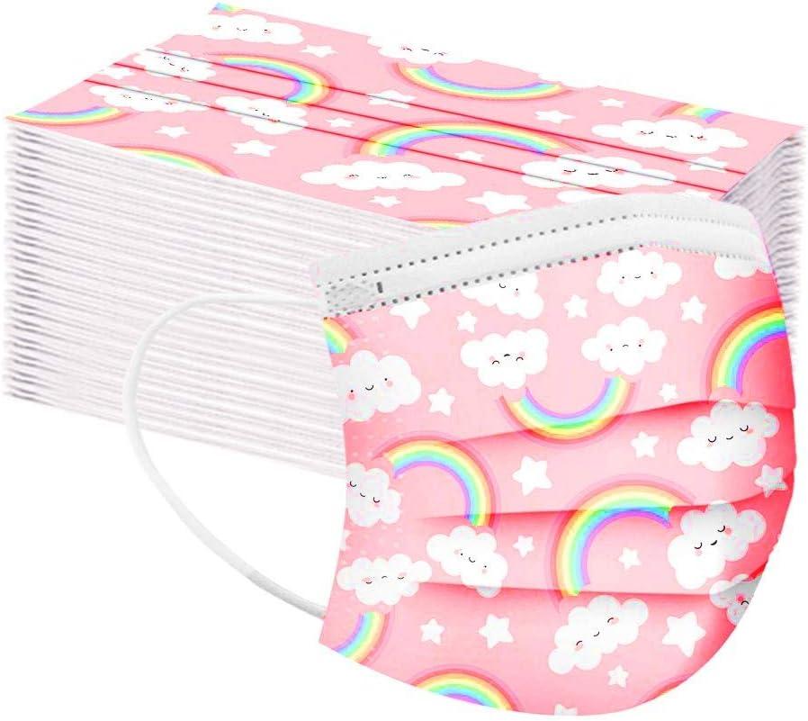 MMMYANG 50 Piezas Niños Navidad Protección, 𝐌𝐚𝐬𝐜𝐚𝐫𝐢𝐥𝐥𝐚𝐬, 3 Capas Transpirables con Elástico para Los Oídos para Impresión linda Seguro Suave Protección personal diaria