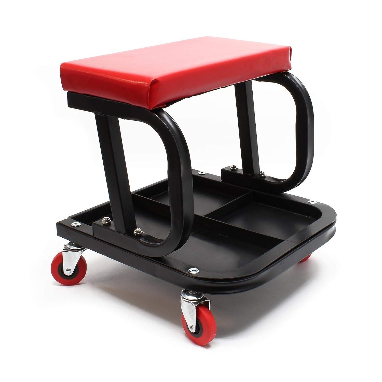Werkstatthocker Montagehocker Werkstattwagen Werkstattsitz fahrbar mit Werkzeugablage WilTec
