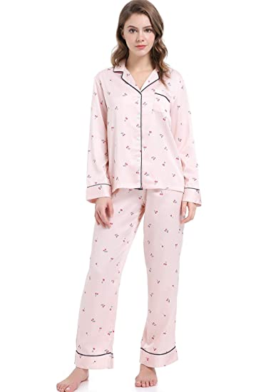 ac43e8d3780 Serenedelicacy Women's Silky Satin Pajamas, Button Up Long Sleeve PJ Set  Sleepwear Loungewear