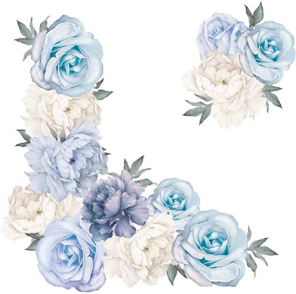 Amaonm Creative Removable 3D Light Blue and White Peony Flower Wall Decals Floral Wall Sticker DIY Peel and Stick Art Decor for Living Room Kids Bedroom Baby Girls Nursery Rooms Wall Corner (Peony)