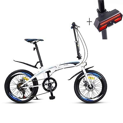 Huoduoduo Bicicleta, Bicicleta Plegable, 20 Pulgadas, Acero De Alto Carbono, Frenos De
