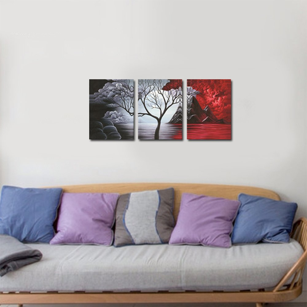 Wieco Art The Cloud Tree Wall Art Oil PaintingS Giclee Landscape Canvas Prints for Home Decorations, 3 Panels