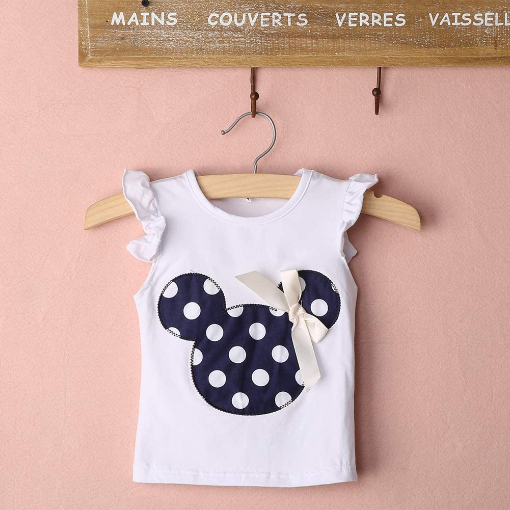 Solid Color with Cartoon Big Bow Minnie Mouse Shoulder Bag Casual Playwear Outfits Baby Toddler Girls Ruffles Demin Dress