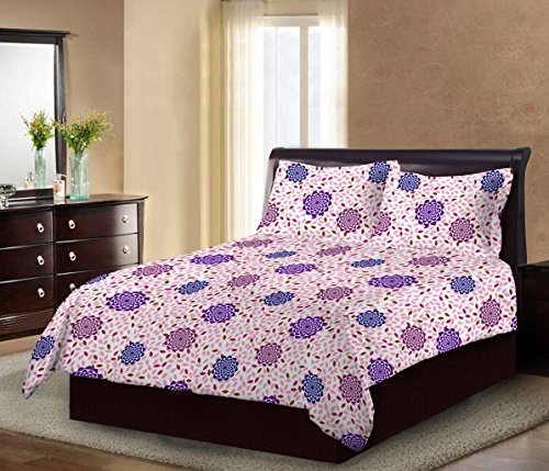 Bombay Dyeing Mistyrose 120TC PolyCotton Double Bedsheet with 2 Pillow Covers-Pink