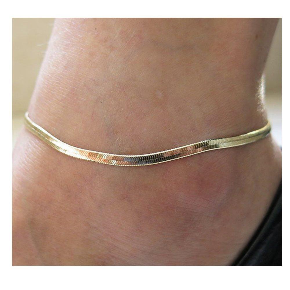 b151c36522 palettei Fashion Jewelry Silver Flat Soft Snake Bone Bracelets Bangle Women  Men Cuff Chain Anklet B07FYCH9QM US ...