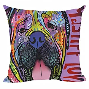 "CafeTime Cute Mastiff Dog Cushion Cover Art Pet Dog Throw Pillow Case Customize Square Pillowcase for Home Sofa Couch Seat Office Good for Gift 20""x20""Inch 3"
