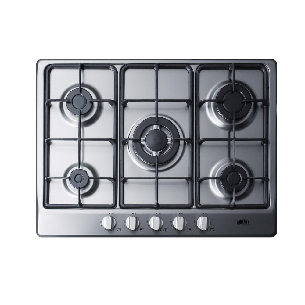 Summit GC527SS 5-Burner Gas Cooktop in Stainless Steel Finish