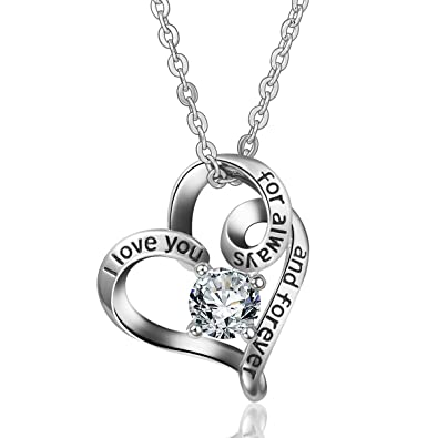 925 Sterling Silver I Love You for always and Forever Pendant Necklace Infinity Love Heart AEONSLOVE Jewellery for Women/Girls m3sUpUM49