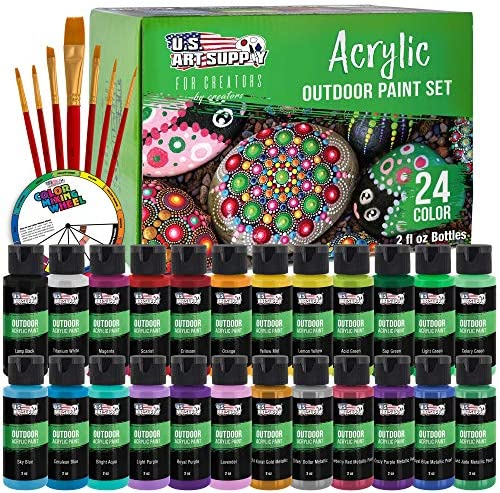 U.S. Art Supply Professional 24 Color Set of Outdoor Acrylic Paint in 2 Ounce Bottles, Plus a 7-Piece Brush Kit – Vivid Colors for Artists, Students – Use on Canvas, Rocks, Kids' Wood Crafts, and Toys