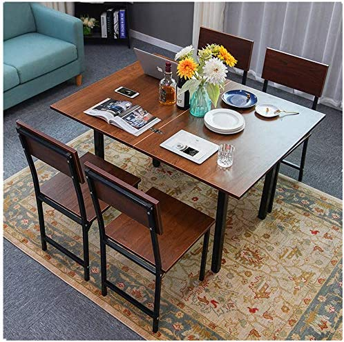 Youdw Small Home Folding Dining Table Computer Desk Oak Industrial Style Household Flip Table Computer Creative Table Drop Leaf Dining Table Open The Table Size 47.2 35.4 29.5 inch Brown