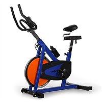 Klarfit IRON SPEED Fitnessbike Idoor Cycle komfortabler Profi Fahrradtrainer inkl. Trainingscomputer & Pulsmesser (stufenlos verstellbarer Widerstand, verstellbare Sattelhöhe / Satteltiefe, Anzeige: Kalorienverbrauch) blau-orange