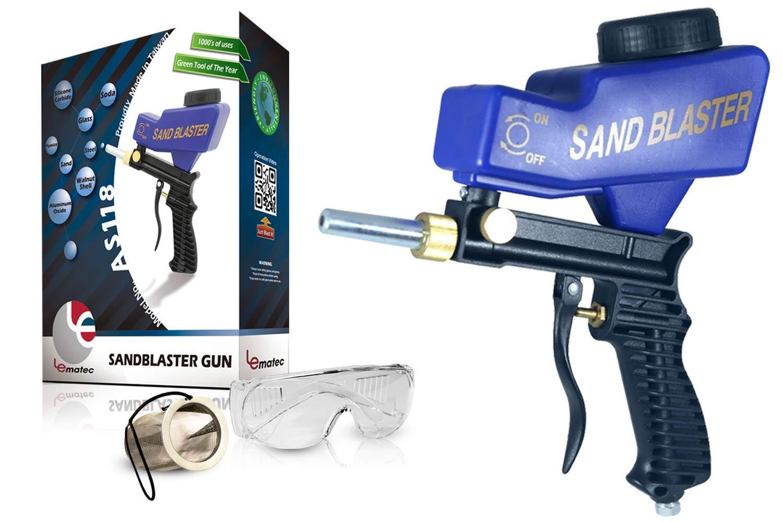 Portable Sand Blaster, Media Blasting Nozzle Gun, Gravity Feed Sandblast Gun, Crafts, DIY, Glass & Mirror Etching Tool with Extra Tip (blue).
