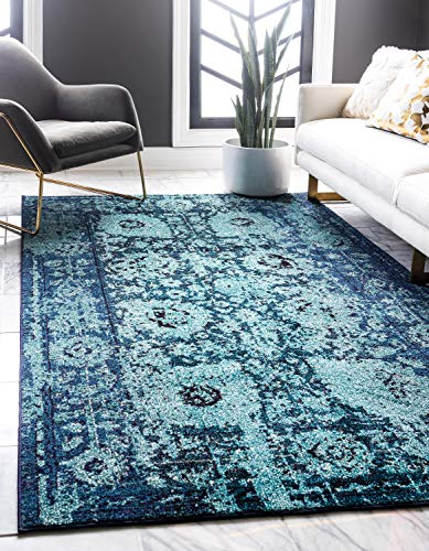 Unique Loom Medici Collection Vintage Botanical Traditional Blue Area Rug (5' 0 x 8' 0)