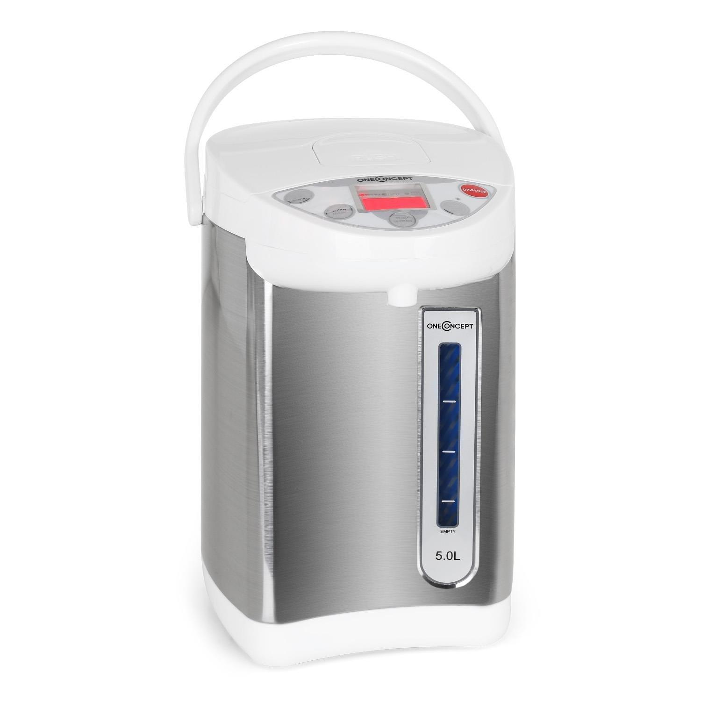 oneConcept Thermos bollitore in acciaio inox (temperatura regolabile, funzione mantenimento calore, base girevole, blocco sicurezza, capacità di 5litri, 680W) - bianco