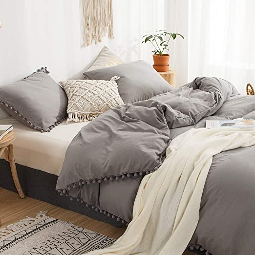 Amazon.com: MOVE OVER 3 Pieces Grey Bedding Light Grey Duvet Cover