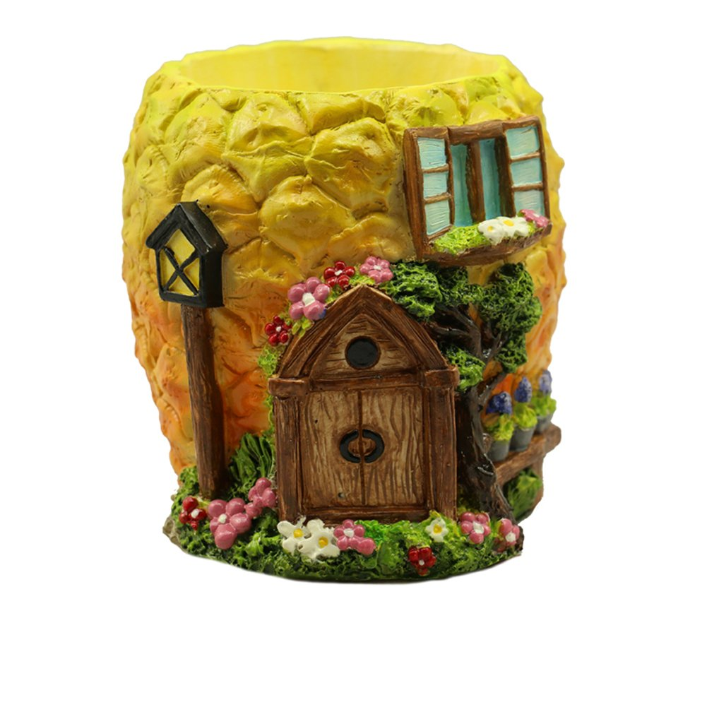YOURNELO Colorful Creative House Shape Plant Flower Pot Succulent Planters Vase (Pineapple Light)
