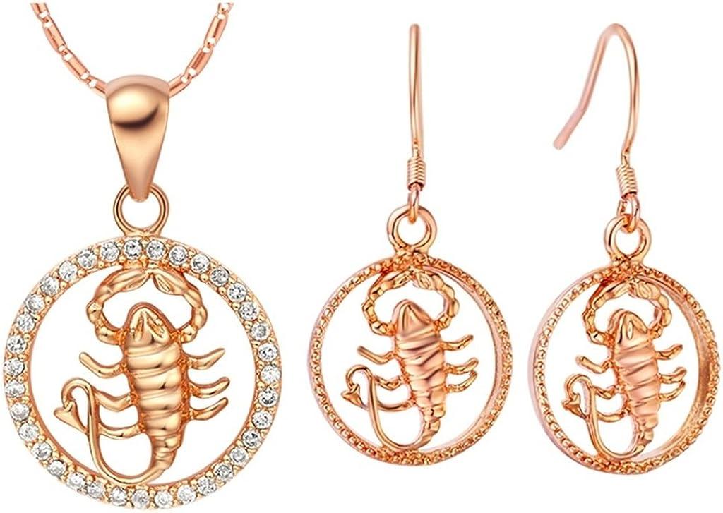 KnSam Mujer Rosa Oro Plate Conjunto de Collar Pendientes, Sagitario Cristal Diamante de Imitación Juego de Joyas